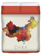 Watercolor Map Of China Duvet Cover