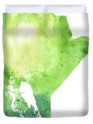 Watercolor Map Of Manitoba, Canada In Green Duvet Cover