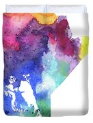 Watercolor Map Of Manitoba, Canada In Rainbow Colors  Duvet Cover