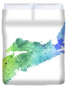 Watercolor Map Of Nova Scotia, Canada In Blue And Green  Duvet Cover