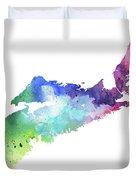 Watercolor Map Of Nova Scotia, Canada In Rainbow Colors  Duvet Cover