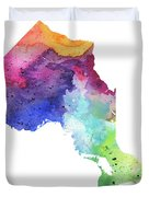 Watercolor Map Of Ontario, Canada In Rainbow Colors  Duvet Cover