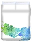 Watercolor Map Of Prince Edward Island, Canada In Blue And Green  Duvet Cover