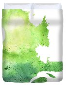 Watercolor Map Of Quebec, Canada In Green  Duvet Cover