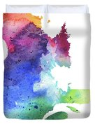 Watercolor Map Of Quebec, Canada In Rainbow Colors  Duvet Cover