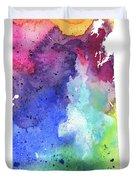 Watercolor Map Of Saskatchewan, Canada In Rainbow Colors  Duvet Cover