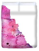 Watercolor Map Of Yukon, Canada In Pink And Purple  Duvet Cover