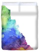 Watercolor Map Of Yukon, Canada In Rainbow Colors  Duvet Cover