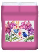 Watercolor - Masked Flowerpiercers With Flowers Duvet Cover