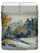 Watercolor Medieval Castle Of Veves  Duvet Cover