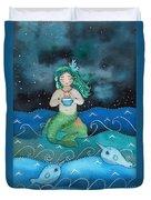 Watercolor Mermaid Feeding Her Narwhals Duvet Cover