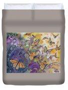 Watercolor- Monarchs In Flight Duvet Cover