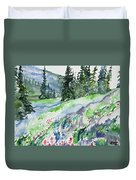 Watercolor - Mountain Pines And Indian Paintbrush Duvet Cover