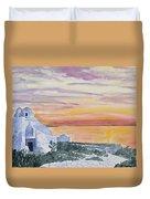Watercolor - Mykonos Sunset Duvet Cover