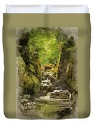 Watercolor Painting Of Beautiful Ethereal Landscape Of Deep Sided Gorge With Rock Walls And Stream F Duvet Cover