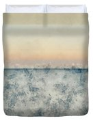 Watercolor Painting Of Beautiful Seascape Image Of Calm Ocean At Sunset Duvet Cover