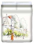 Watercolor Painting Of Monk Duvet Cover
