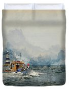 Watercolor Painting Of Pleasure Cruise Boat On Menai Straits In Anglesey Wales. Duvet Cover
