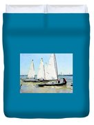 Watercolor Painting Of Small Dinghy Boats Duvet Cover