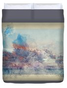 Watercolor Painting Of Stunning Sunset Cloud Formation Over Calm Sea Landscape Duvet Cover