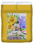 Watercolor - Pika With Wildflowers Duvet Cover by Cascade Colors