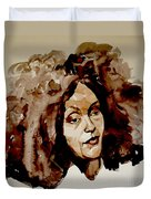 Watercolor Portrait Of A Woman With Bad Hair Day Duvet Cover