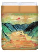 Watercolor River Scenery Duvet Cover
