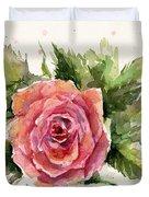 Watercolor Rose Duvet Cover