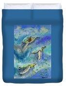 Watercolor - Sea Turtles Swimming Duvet Cover