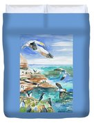 Watercolor - Seabirds Of The North Atlantic Duvet Cover