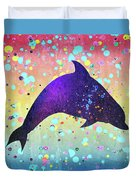 Watercolor Silhouette - Dolphin  Porpoise Duvet Cover