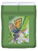 Watercolor - Small Butterfly On A Flower Duvet Cover