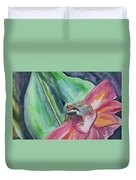 Watercolor - Small Tree Frog On A Colorful Flower Duvet Cover