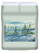Watercolor - Snowy Winter Evening Duvet Cover