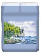 Watercolor - Split Rock Lighthouse Duvet Cover