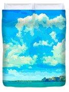 Watercolor Spring On Sarasota Bay Duvet Cover
