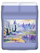 Watercolor - Stream And Forest Duvet Cover