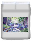 Watercolor - Summer Mountain Forest And Stream Duvet Cover