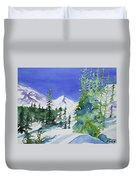 Watercolor - Sunny Winter Day In The Mountains Duvet Cover by Cascade Colors