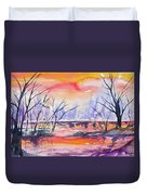 Watercolor - Sunrise At The Pond Duvet Cover