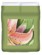 Watercolor Tiger Lily Dance Of Petals Close Up  Duvet Cover