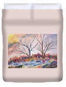 Watercolor - Trees And Woodland Meadow Duvet Cover