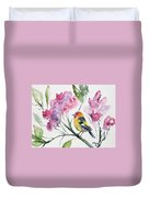 Watercolor - Western Tanager In A Flowering Tree Duvet Cover