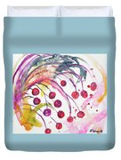 Watercolor - Winter Berry Abstract Duvet Cover