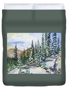 Watercolor - Winter Snow-covered Landscape Duvet Cover