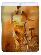 Watercolor With My Bike Duvet Cover by Pol Ledent