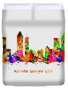 Watercolour Art Print Of The Skyline Of Atlanta Georgia Usa Duvet Cover