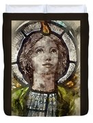 Watercolour Painting Of Stained Glass Religious Window In Church Duvet Cover