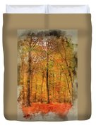 Watercolour Painting Of Vibrant Autumn Fall Forest Landscape Ima Duvet Cover