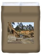 Waterfall At Hug Point State Park Oregon Duvet Cover